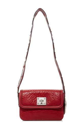 Medium red valentino red leather shoulder bag with snake 2