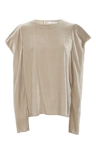 Medium tibi neutral velvet draped sleeve top