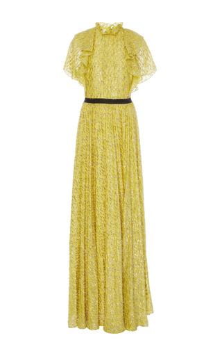 Medium lela rose yellow ruffle halter neck gown