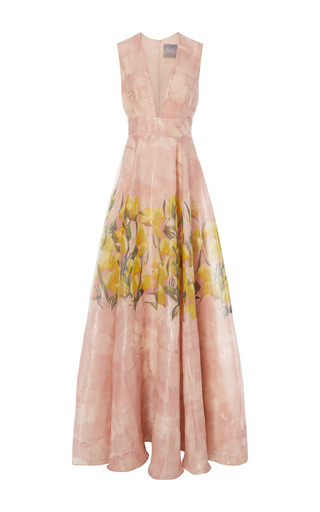 Medium lela rose print sheer front panel dress