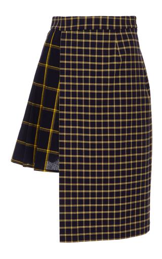 Medium sea plaid half pleated phantom skirt