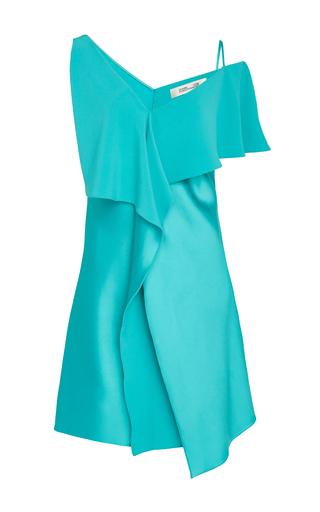 Medium diane von furstenberg blue sleeveless asymmetrical mini dress
