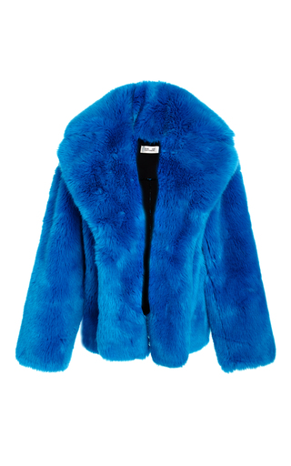 Medium diane von furstenberg blue faux fur jacket