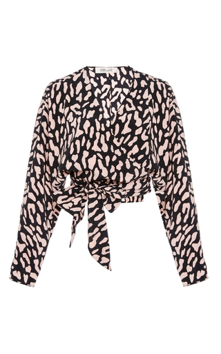 Medium diane von furstenberg animal long sleeve wrap blouse