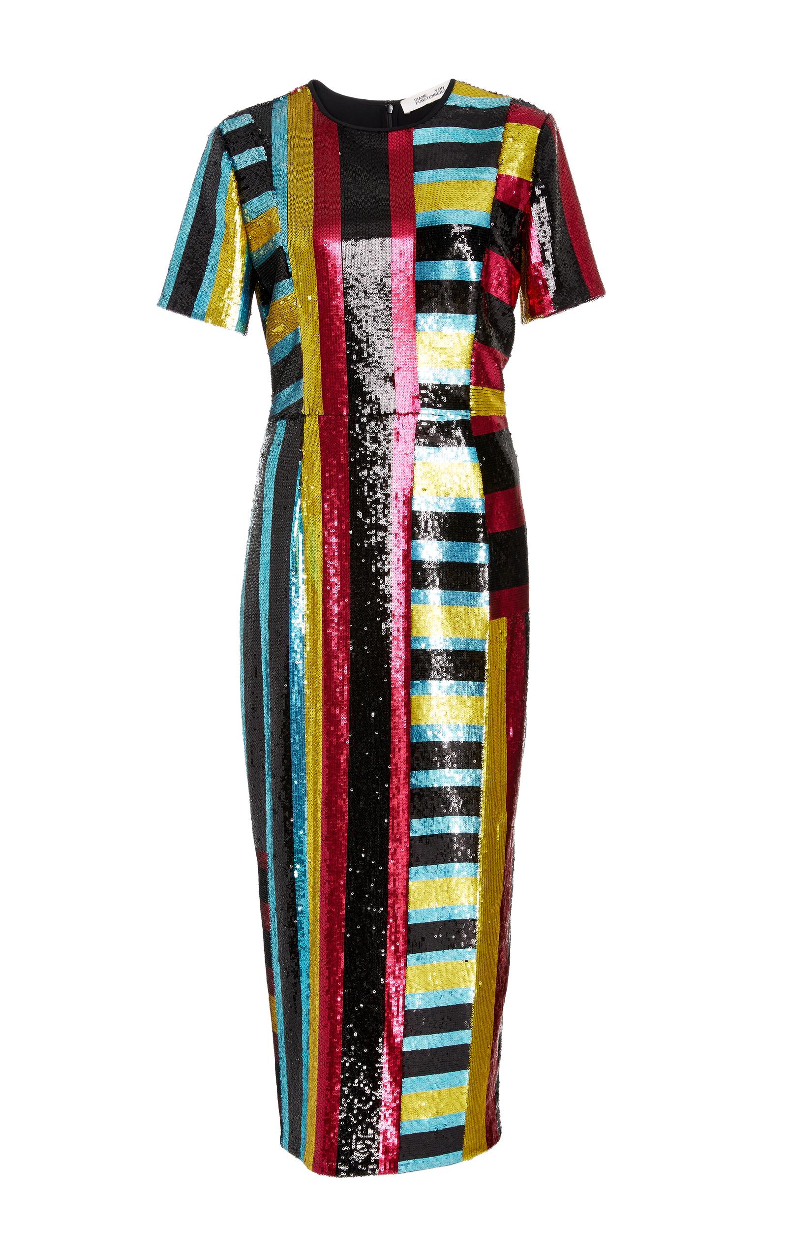 Saxon Stripe Sequin Dress by Diane von Furstenberg   Moda Operandi