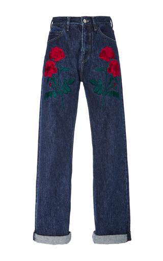 Medium adam selman blue rodeo embroidered jeans