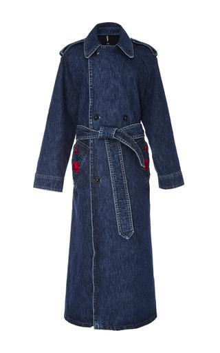 Medium adam selman blue embroidered denim trench coat