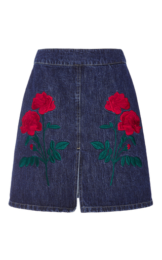 Medium adam selman blue embroidered denim mini skirt
