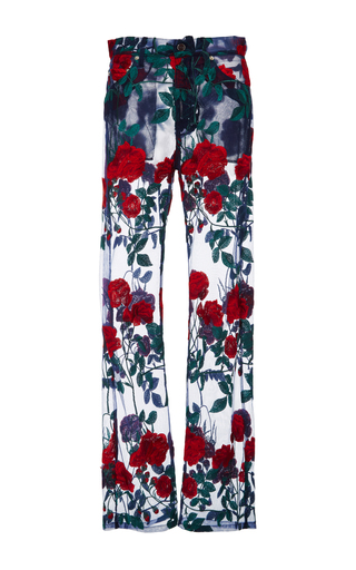 Medium adam selman floral rodeo embroidered sheer jeans