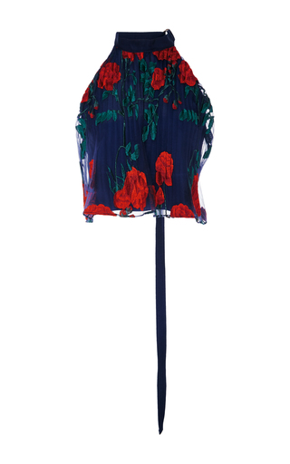 Medium adam selman navy topiary embroidered pleated halter