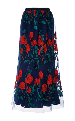 Medium adam selman navy topiary embroidered pleated overlay skirt