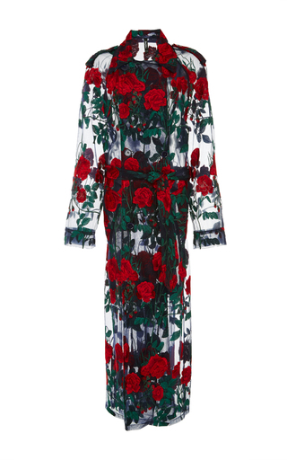 Medium adam selman floral embroidered sheer trench coat