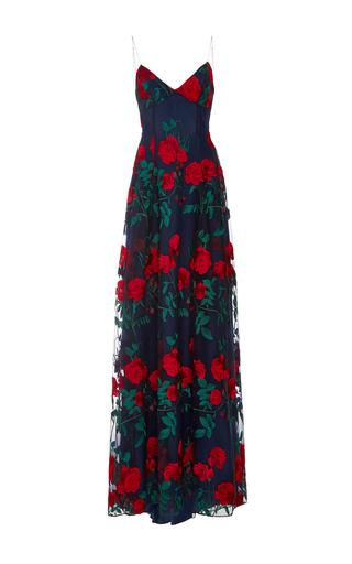 Medium adam selman navy embroidered tulle overlay gown