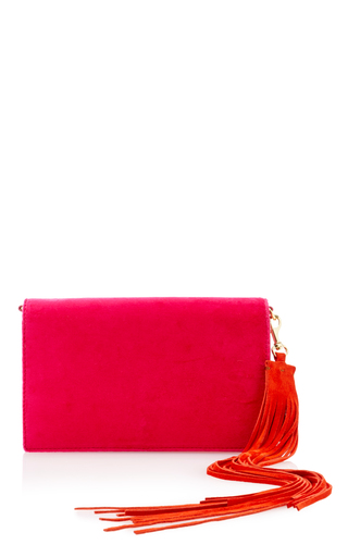 Medium diane von furstenberg pink soiree velvet shoulder bag