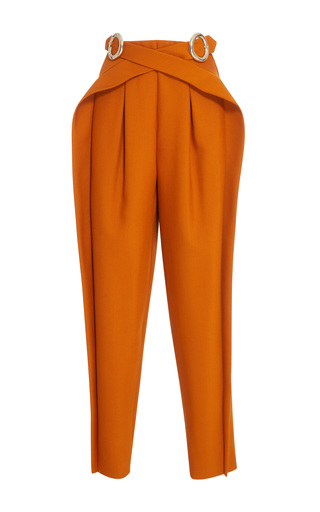Medium delpozo brown high waisted trousers with buckle
