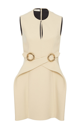 Medium delpozo neutral sleeveless wrap buckle dress
