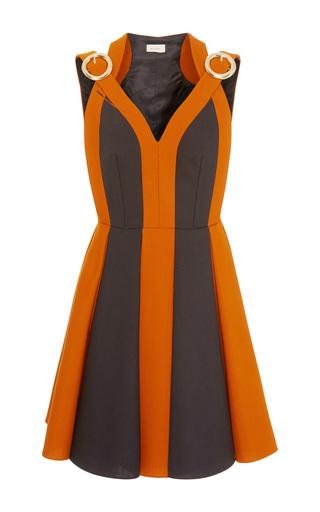 Medium delpozo brown sleeveless bi color buckle dress