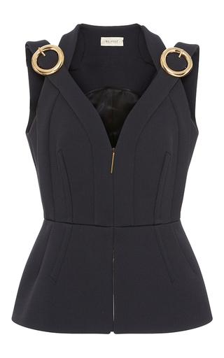 Medium delpozo black sleeveless buckle top