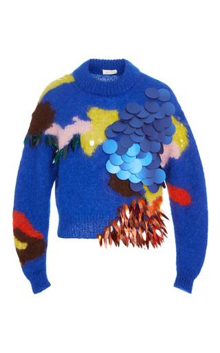 Medium delpozo blue intarsia volume sweater