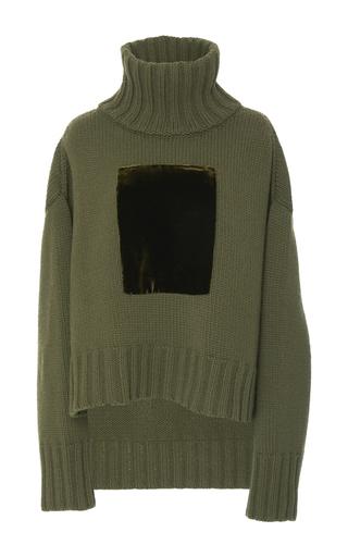 Medium sally lapointe green cashmere wool velvet patch pullover