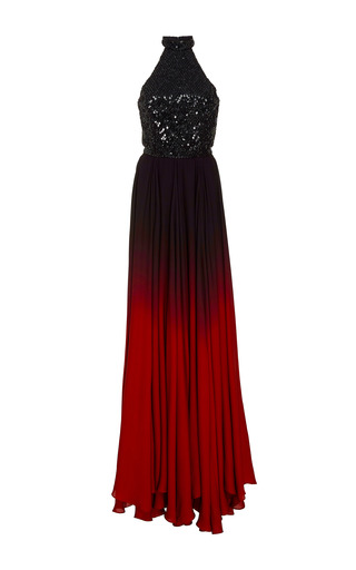 Medium oday shakar red hand beaded bodice gown with ombre skirt