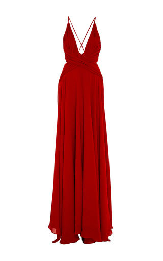 Medium oday shakar red georgette pleated halter gown with braided back