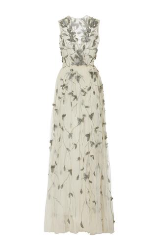 Medium oday shakar neutral hand beaded tulle gown