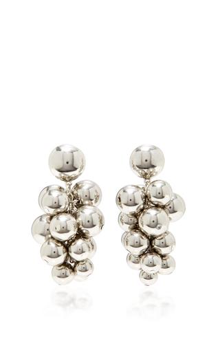 Medium oscar de la renta silver bold beaded cluster earrings