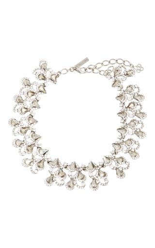 Medium oscar de la renta silver baroque crystal necklace