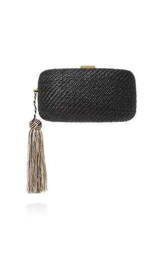 Medium kayu black charlotte woven straw clutch
