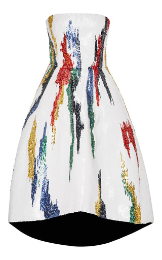 Medium oscar de la renta white strapless tea length gown