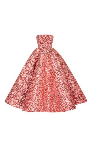 Medium oscar de la renta silver strapless floral tea length gown