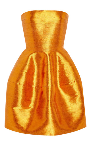 Medium oscar de la renta orange strapless cocktail dress