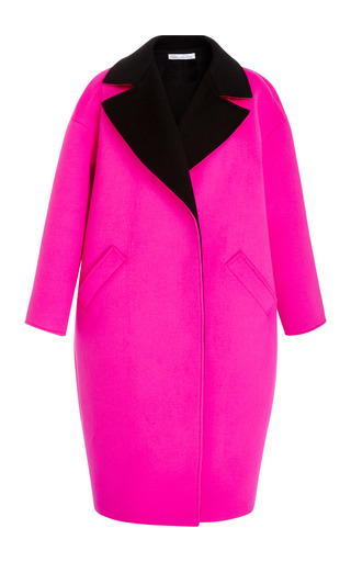 Medium oscar de la renta pink oversized notch collar coat