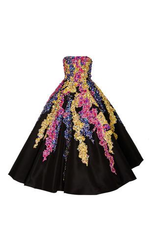 Medium oscar de la renta black strapless tea length gown with embellishment