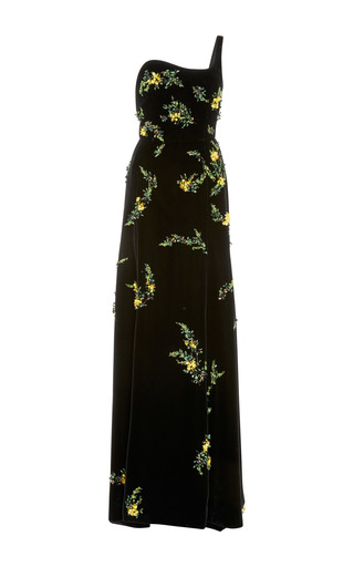 Medium oscar de la renta black one shoulder embellished gown