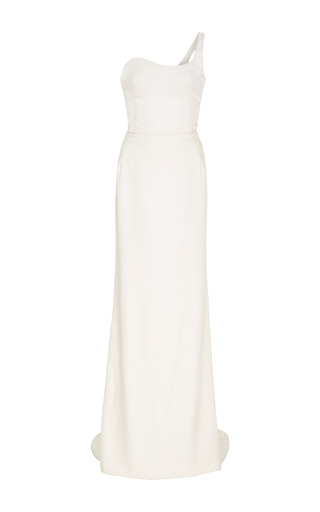 Medium oscar de la renta white one shoulder velvet gown