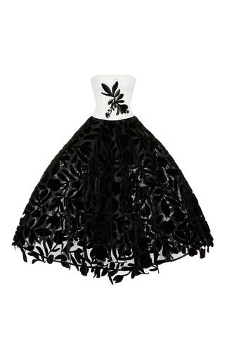 Medium oscar de la renta black white floral tea length gown