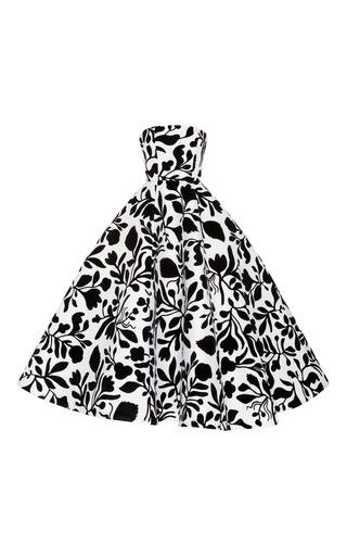 Medium oscar de la renta black white strapless floral teal length gown