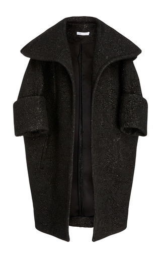 Medium oscar de la renta black oversized lapel coat