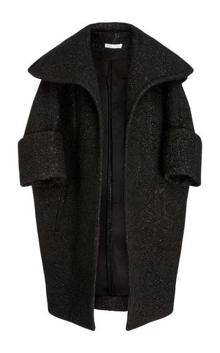 Medium oscar de la renta black oversized lapel coat