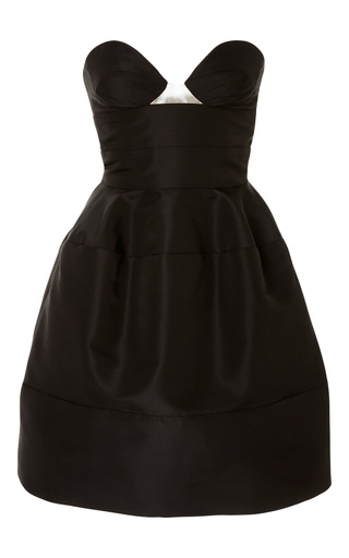 Medium oscar de la renta black strapless cocktail dress 2