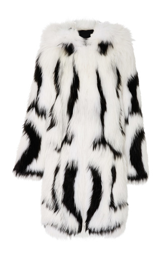 Medium oscar de la renta white hooded fur coat