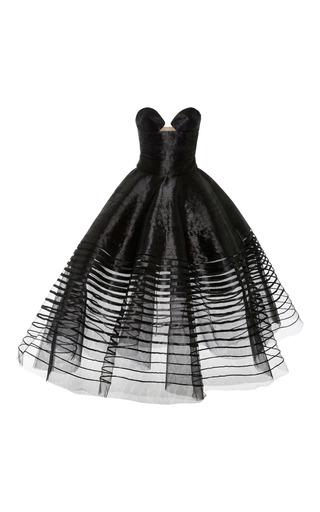 Medium oscar de la renta black strapless tea length gown 2
