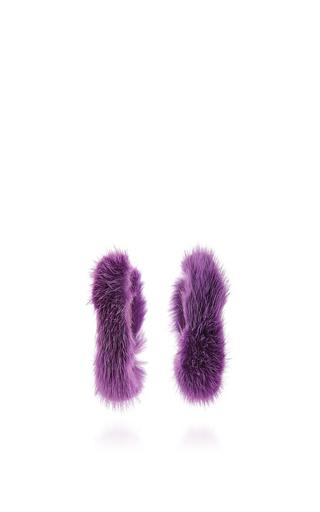 Medium ranjana khan purple purple fur hoops with beading