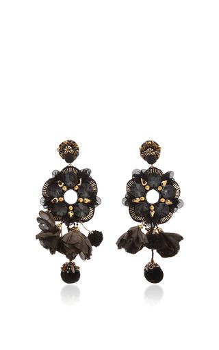Medium ranjana khan black black tulle crystal flower earrings