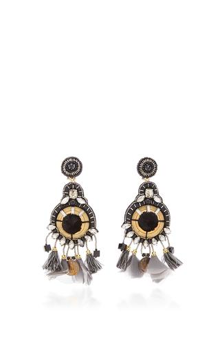 Medium ranjana khan black gold onyx earrings