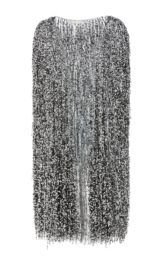 Medium naeem khan black white sequin embroidered cape