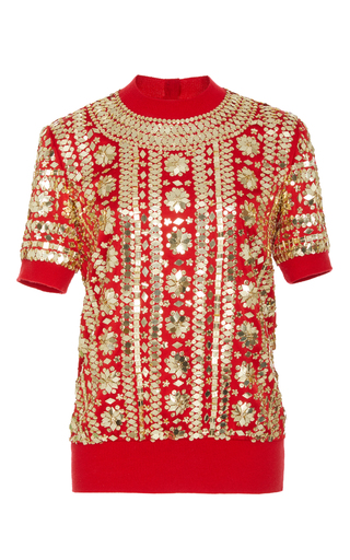 Medium naeem khan red embellished short sleeve top