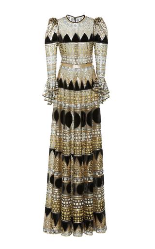 Medium naeem khan multi ruffled long sleeve gown